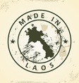Stamp with map of Laos vector image