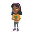 african-american sad girl having stomach ache vector image