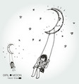 girl swinging on a moon vector image