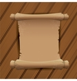 Old Scroll paper on wooden table background vector image