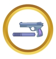 Pistol and silencer icon vector image