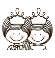 silhouette half body girl and boy with crown vector image