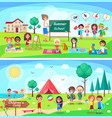 summer school and childrens camp vector image