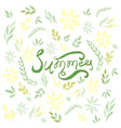 watercolor summer card with green leaves vector image