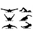 Six swimmers set vector image