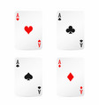 four aces playing cards with shadow isolated on vector image