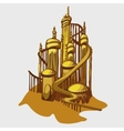 Cartoon castle from the Golden sand vector image