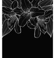 black-and-white background with lilies hand-drawn vector image