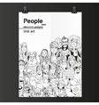 Crowd of people with electronic gadgets line art vector image