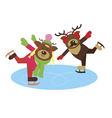deer couple on the skates vector image