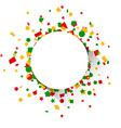 Round paper card over confetti vector image