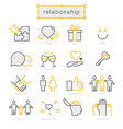 Thin line icons set Relationship vector image