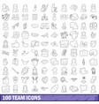 100 team icons set outline style vector image