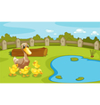 Ducks near the small pond vector image vector image