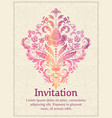 invitation card with watercolor damask element on vector image vector image