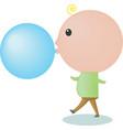 Big-headed boy is blowing a bubble gum vector image