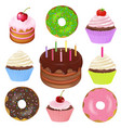 big set of cakes vector image