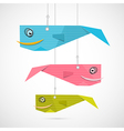 Paper Fish Hang on Strings vector image vector image