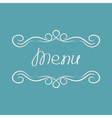 Menu cover design Abstract calligraphic frame vector image