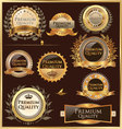 premium quality golden labels and medallions vector image
