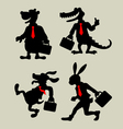 Animal Business Activity Silhouettes vector image