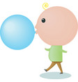 Big-headed boy is blowing a bubble gum vector image