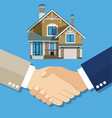 cartoon businessman handshake deal purchase home vector image