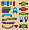 Christmas set geometric emblems and ribbons vector image