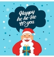 Funny Santa Claus with gift say happy hoho to you vector image