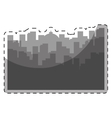 Grayscale city scene with building image vector image