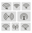 monochrome icons with wifi symbols vector image