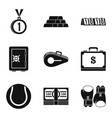 rich athlete icons set simple style vector image