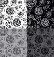 Seamless hand drawn flowers pattern set vector image