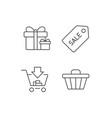 shopping cart gift box and sale coupon icons vector image