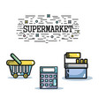 suprmarket with variety products and commerce shop vector image