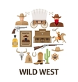 Wild West Round Composition vector image