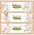 Mushrooms organic shop sketch banners vector image