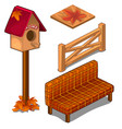 set of fences coverings birdhouse and sofa vector image