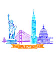 Attractions of the united states in polygonal vector image