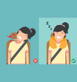 right posture to sleep while sitting upright vector image