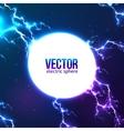 Shining electric lightning white circle frame vector image