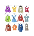 Set of clothes on hangers with funny animal design vector image vector image