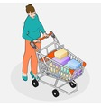 Isometric Grocery Shopping - Walking Woman with vector image