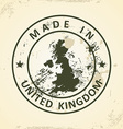 Stamp with map of United Kingdom vector image