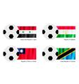 Soccer Ball with Syria Tajikistan Taiwan Flag vector image