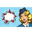stewardess airplane travel tourism pop art retro vector image