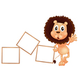 A lion standing beside the empty boards vector image vector image