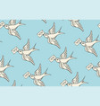 seamless pattern with old school vintage bird and vector image
