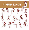 large pinup lady poses collection for your logo vector image vector image