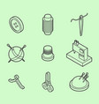 sewing flat outline isometric icons vector image vector image